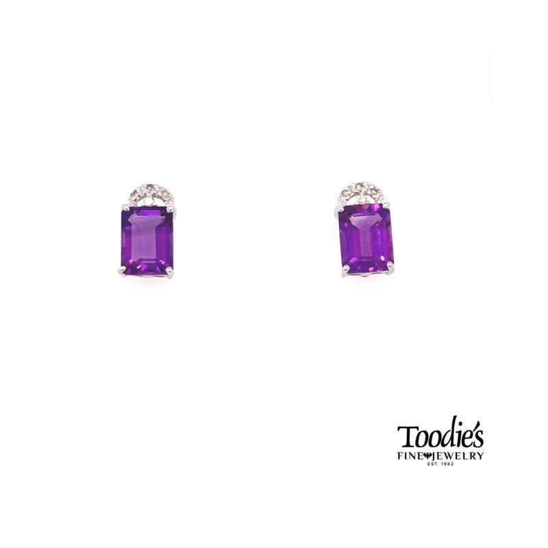 Toodie's Signature Fashion Amethyst And Diamond Cluster Earrings