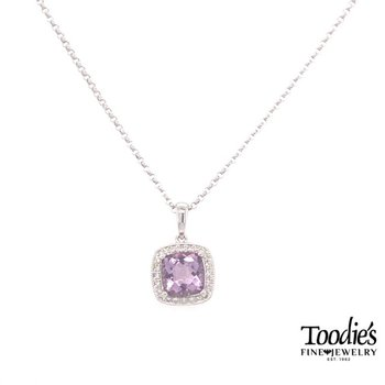 White Gold Rose Amethyst And Diamond Necklace