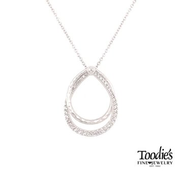 White Sapphire and Diamond Teardrop Necklace