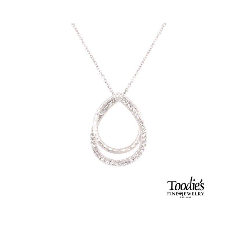White Sapphire and Diamond Teardrop Necklace