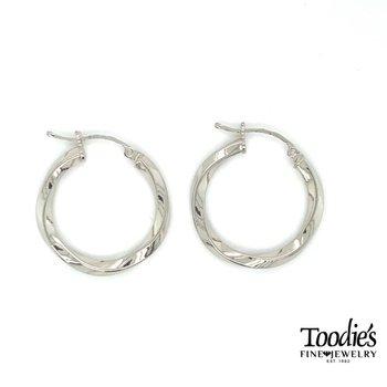 Sterling Silver 2.5mm Wide Twisted Hoop Earrings