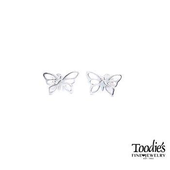 Children's Silver Butterfly Stud Earrings