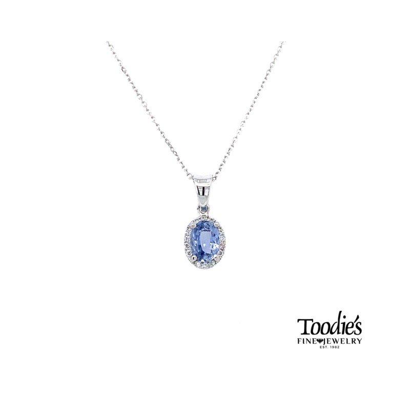 Toodie's Signature Fashion Pastel Purple Sapphire and Diamond Halo Pendant