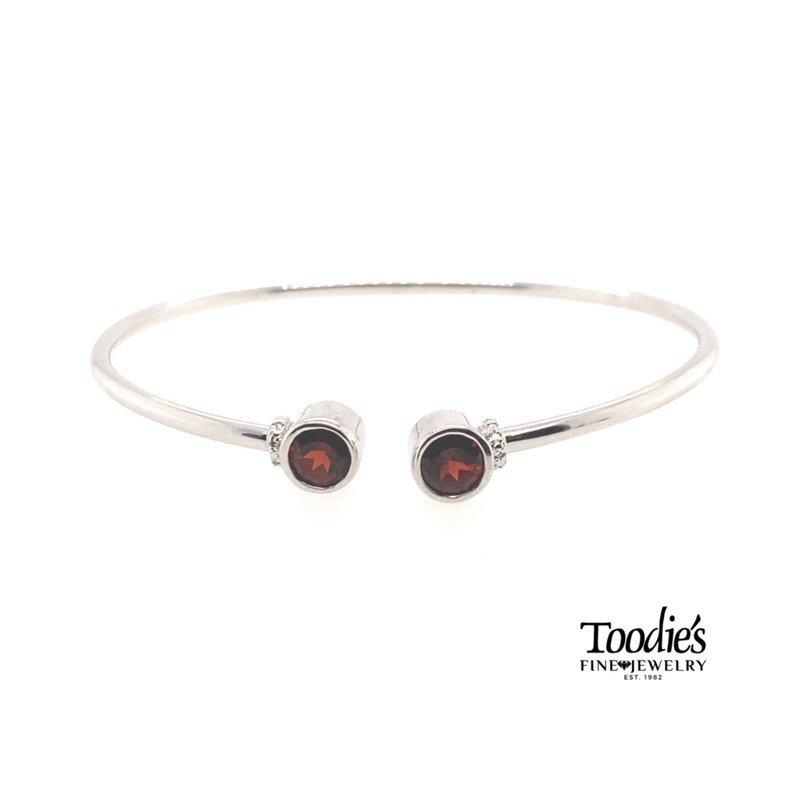 Toodie's Signature Fashion Sterling Silver Garnet & Diamond Bangle Bracelet