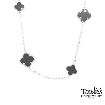 Designer Inspired Multi Clover Black Onyx Necklace