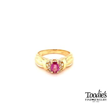 Ruby And Diamond Halo Style Ring