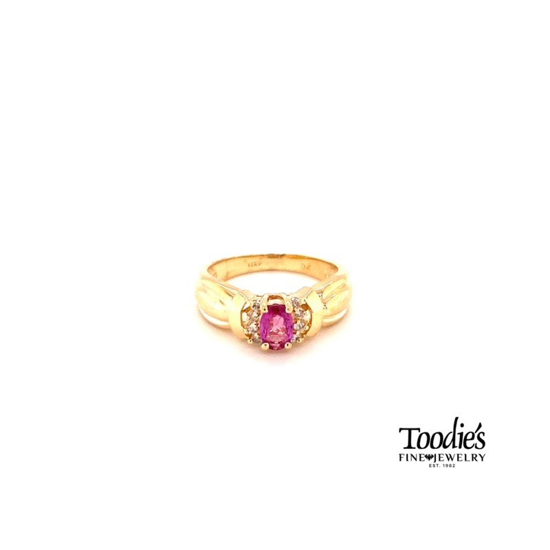 Toodie's Signature Fashion Ruby And Diamond Halo Style Ring