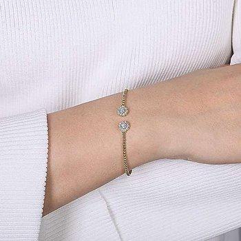 Double Diamond Halo Open Bangle Bracelet