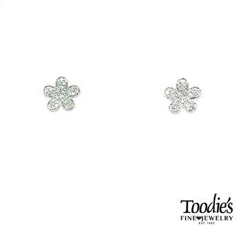 14k White Gold Diamond Pave' Flower Stud Earrings