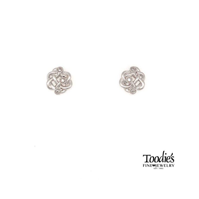 Gabriel Fashion Twisted Knot Diamond Earrings