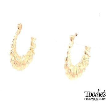 Rounded Textured Hoop Earrings