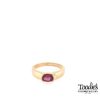 Half Bezel Set Rhodolite Garnet Ring