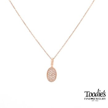 Diamond Pave' Design Oval Shaped Pendant