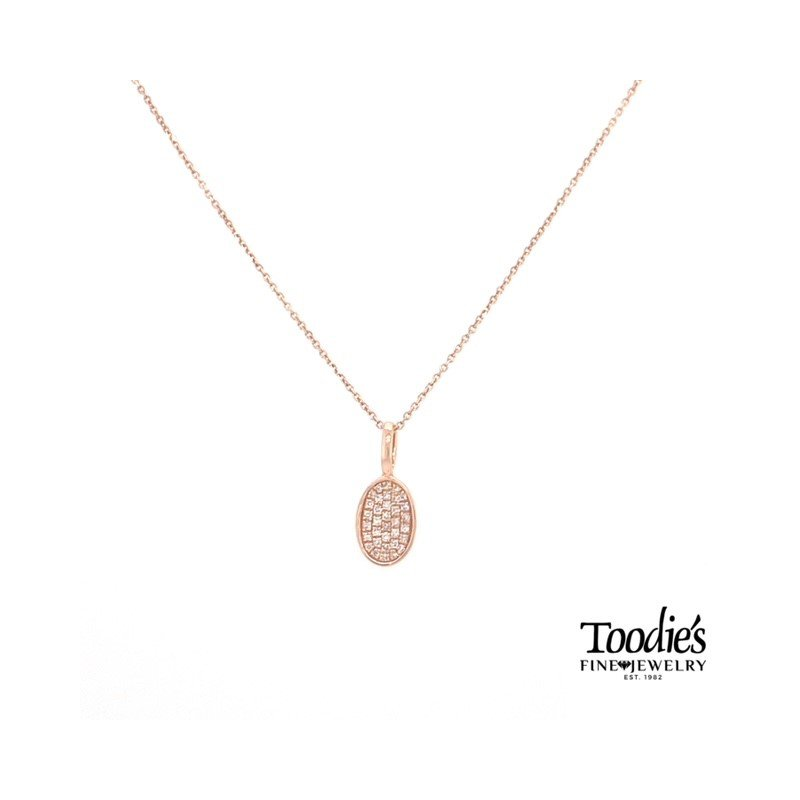 Toodie's Signature Fashion Diamond Pave' Design Oval Shaped Pendant