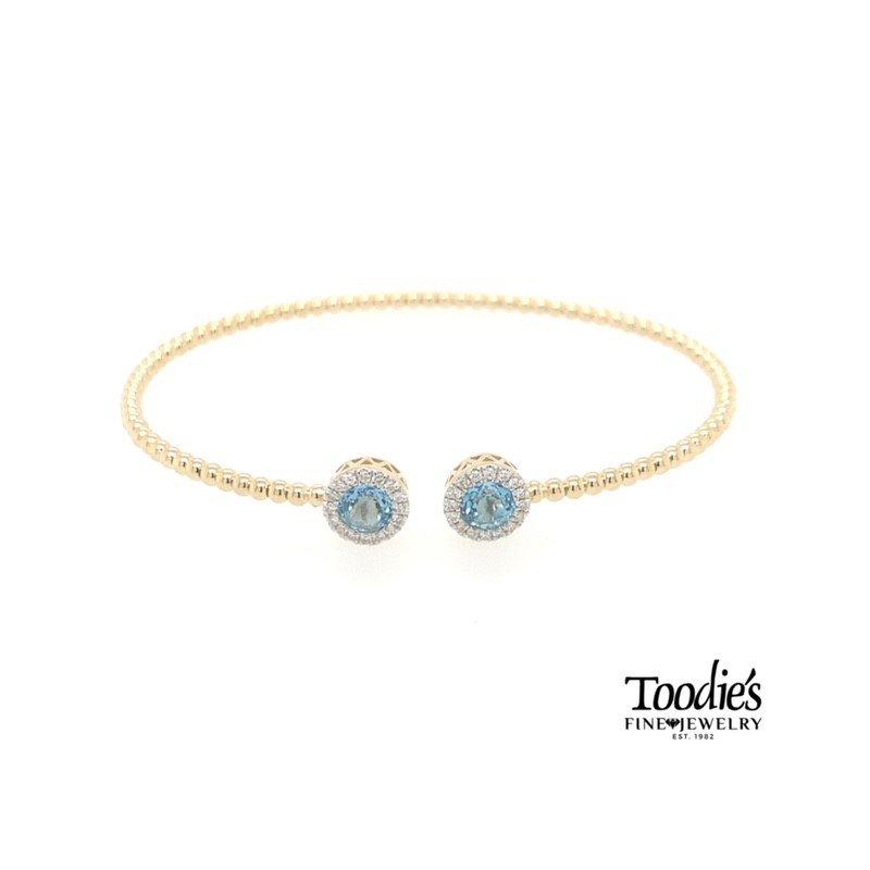 Gabriel Fashion Blue Topaz And Diamond Halo Bangle