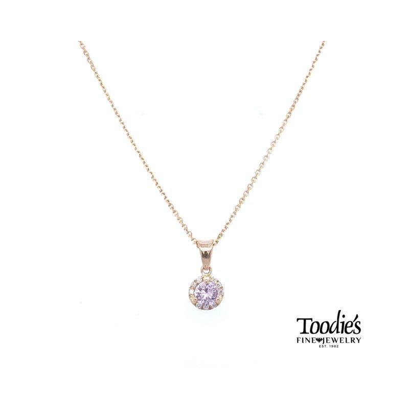Toodie's Signature Fashion Pastel Pink Sapphire and Diamond Halo Pendant
