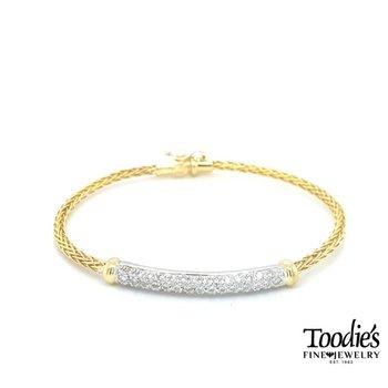 14k Gold Diamond Pave' Bangle Bracelet
