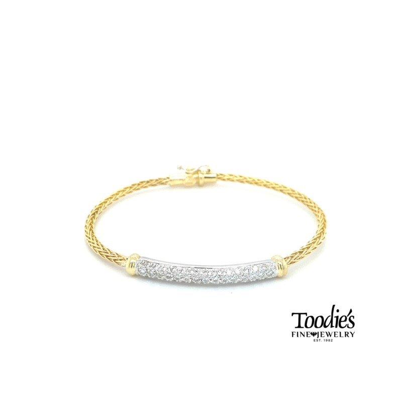Toodie's Signature Fashion 14k Gold Diamond Pave' Bangle Bracelet
