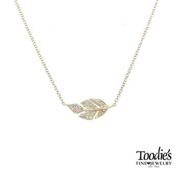 Pave Leaf Necklace