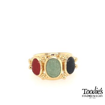 """Howie's Staple"" Triple Scarab Ring"