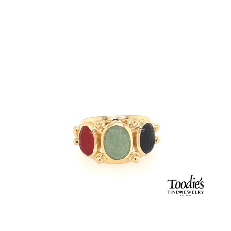 "Toodie's Signature Fashion ""Howie's Staple"" Triple Scarab Ring"