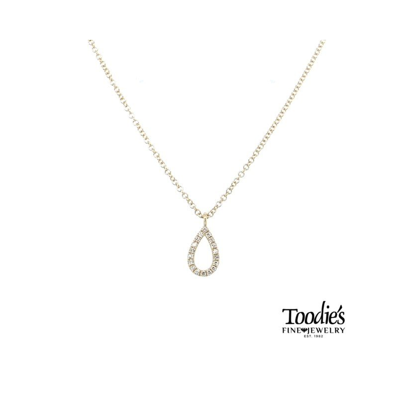 Shy Creation Pear Shaped Pave Drop Necklace