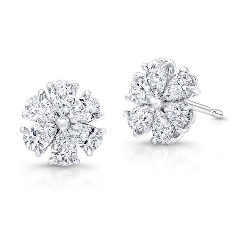 Rahaminov 18k White Gold Diamond Flower Earrings