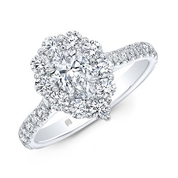 18k White Gold Pear Shape Halo Style Engagement Ring