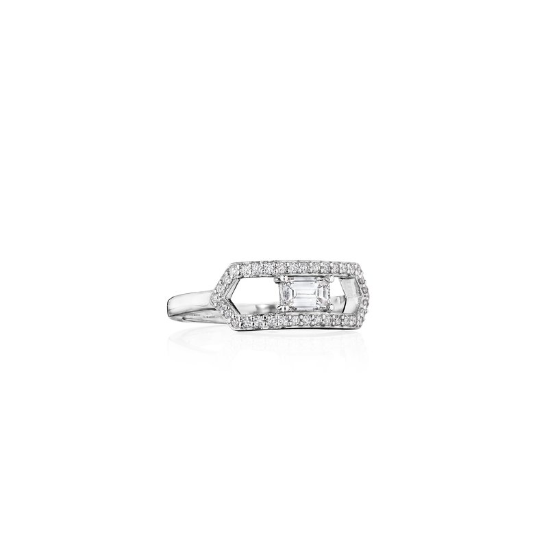 Penny Preville 18k White Gold Open Deco Diamond Ring