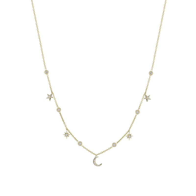 Penny Preville 18k Yellow Gold Diamond Moon & Stars Eyeglass Necklace