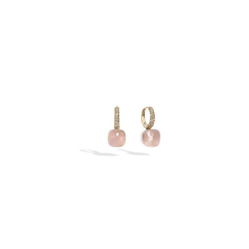 Pomellato Nudo 18k rose gold rose quartz/chalcedony and brown diamond earrings