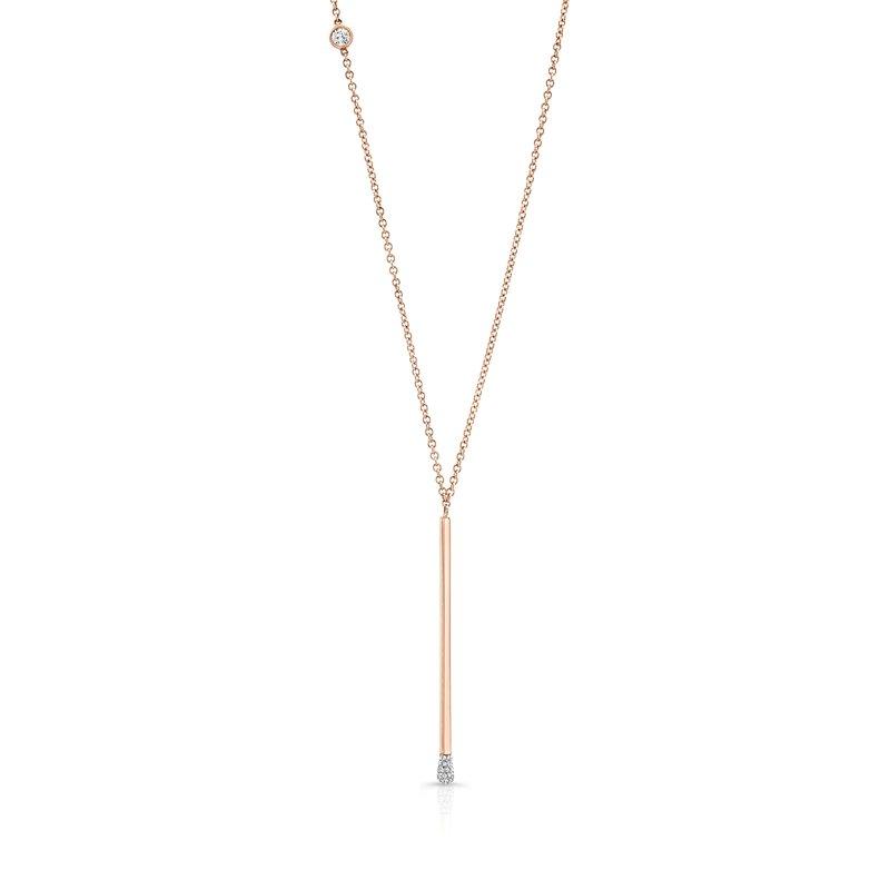 Rahaminov 18k Rose Gold Diamond Matchstick Style Necklace