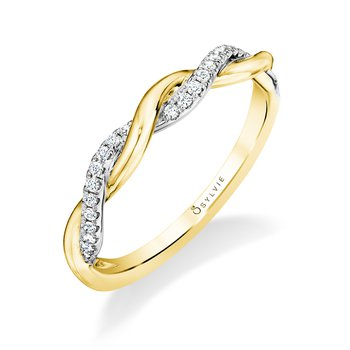 14k Gold Modern Spiral Diamond Band