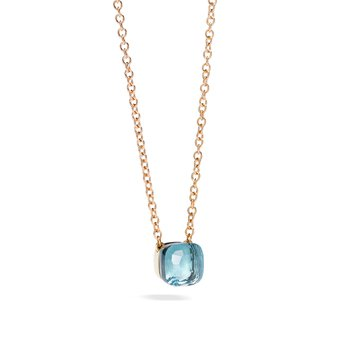 Nudo 18k rose gold sky blue topaz necklace