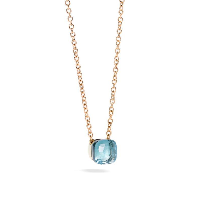 Pomellato Nudo 18k rose gold sky blue topaz necklace