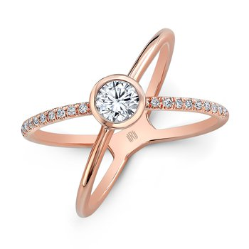 18k Rose Gold Diamond Kiss Ring