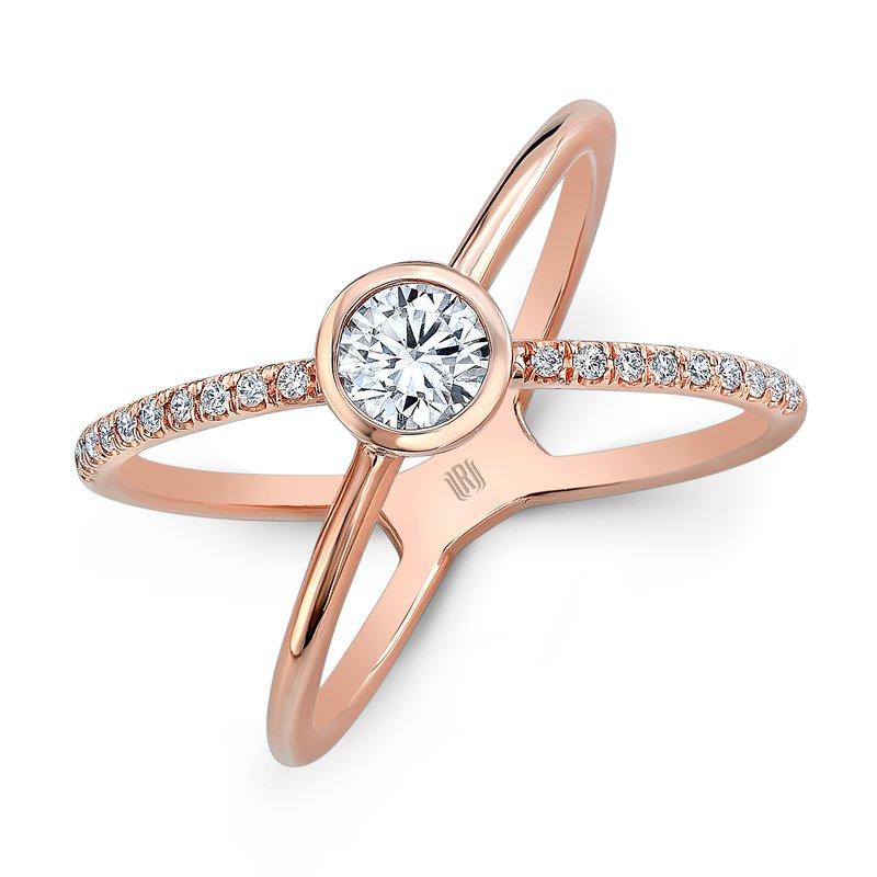 Rahaminov 18k Rose Gold Diamond Kiss Ring