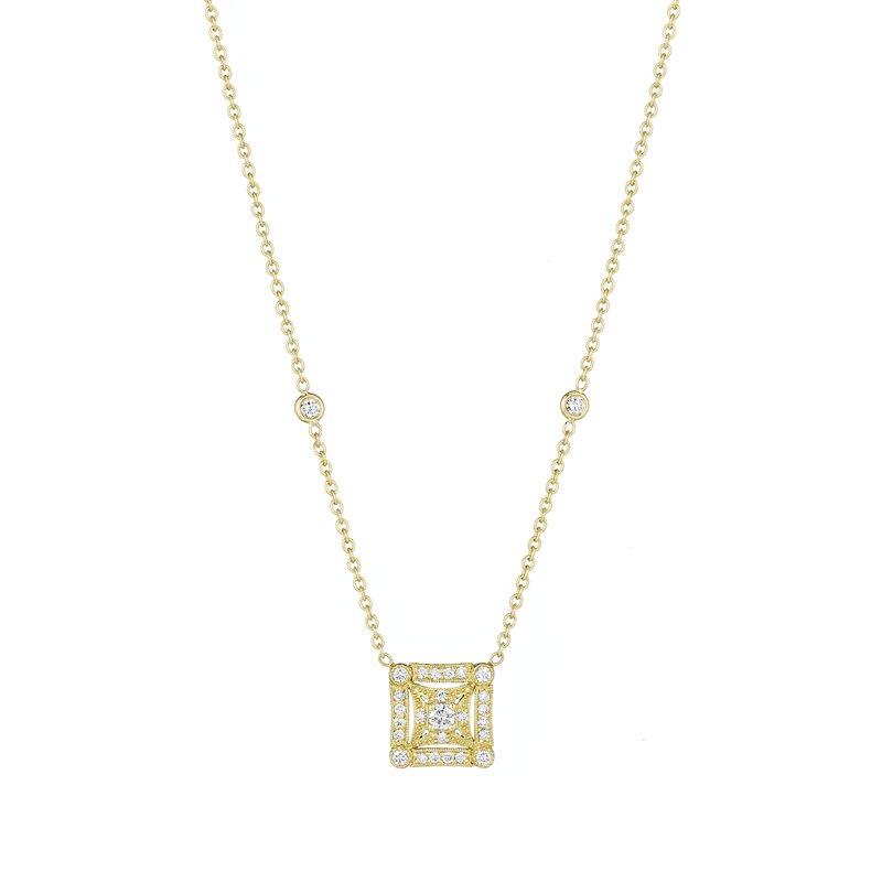 Penny Preville 18k Yellow Gold Square Diamond Pendant