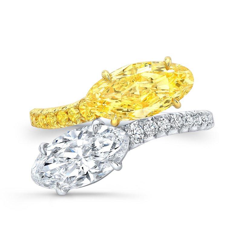 Rahaminov Platinum and 18k Yellow Gold White/Yellow Bypass Ring