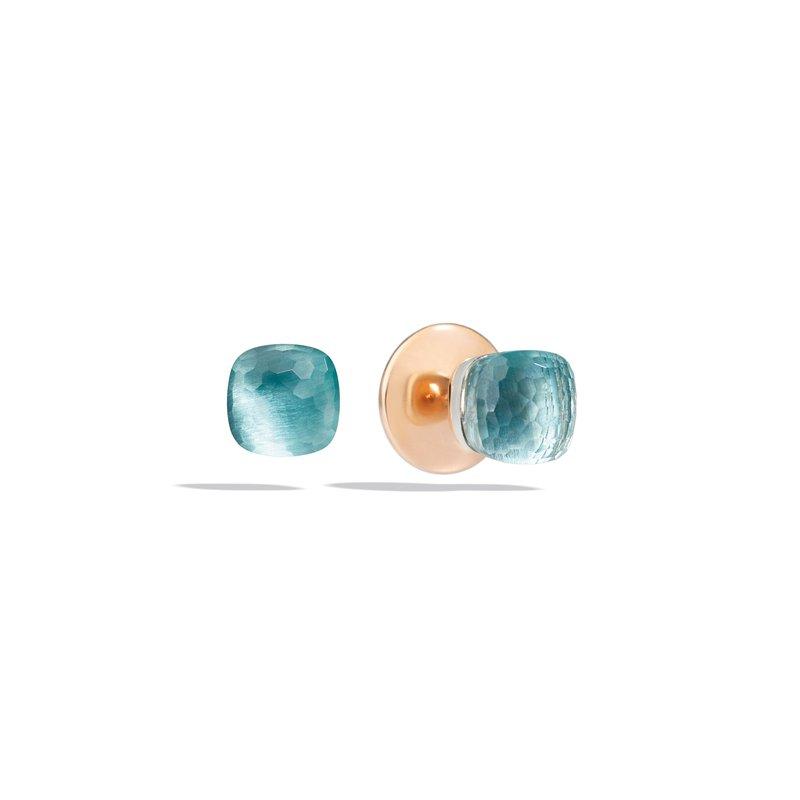 Pomellato Nudo 18k rose gold sky blue topaz stud earrings
