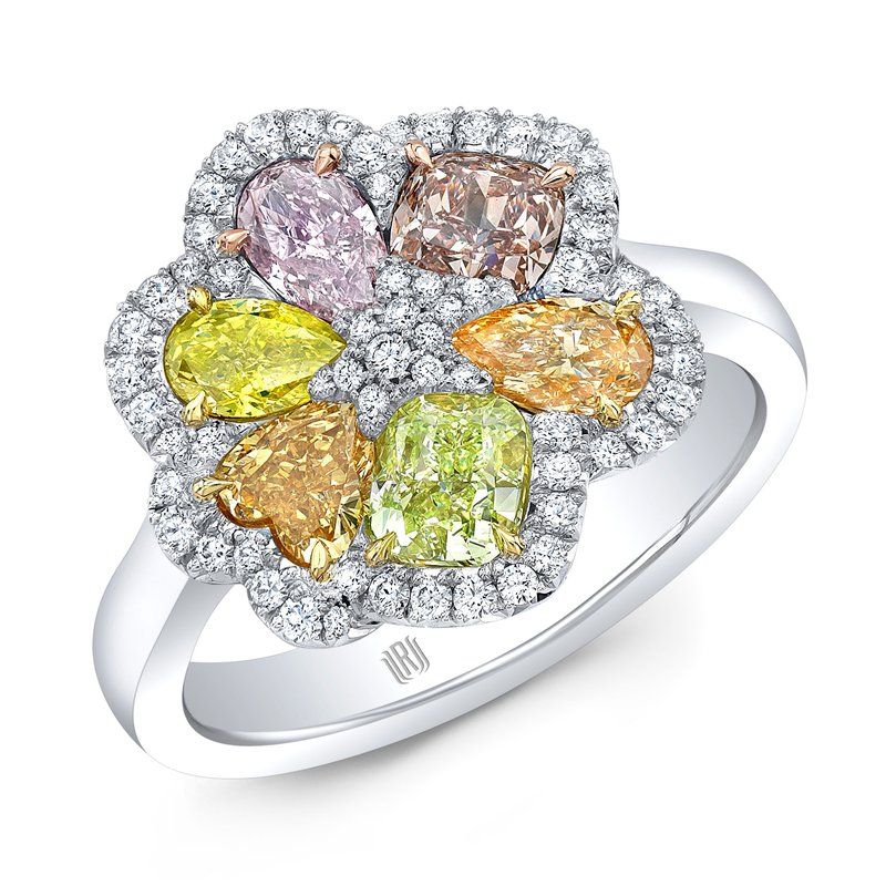 Rahaminov Platinum Multi Color Diamond Flower Ring