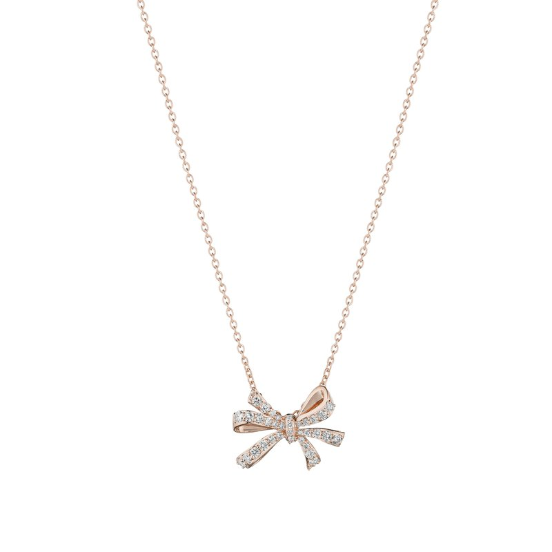 Penny Preville 18k Rose Gold Diamond Double Bow Necklace