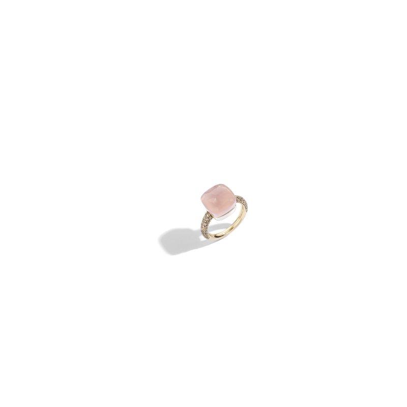 Pomellato Nudo 18k rose gold rose quartz/chalcedony and brown diamond ring
