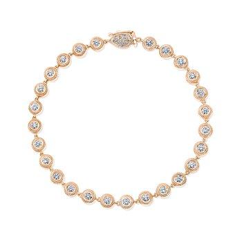 18k Rose Gold Diamond Beaded Bracelet