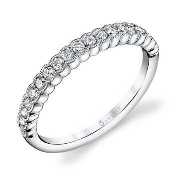 14k Gold Scallop Edge Diamond Band
