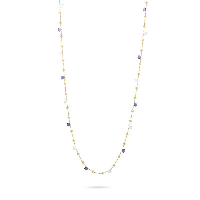 Marco Bicego Paradise 18k yellow gold iolite and blue topaz long necklace