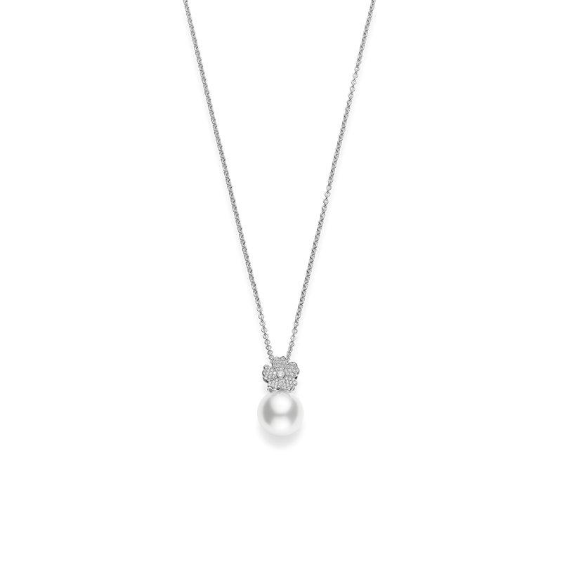 Mikimoto White South Sea Cherry Blossom Pearl and Diamond Pendant