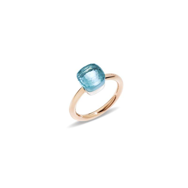 Pomellato Nudo 18k rose gold sky blue topaz ring