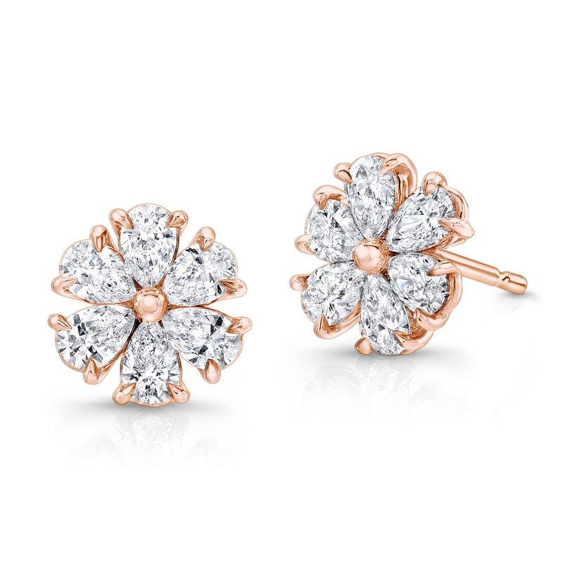 Rahaminov 18k Rose Gold Diamond Flower Earrings