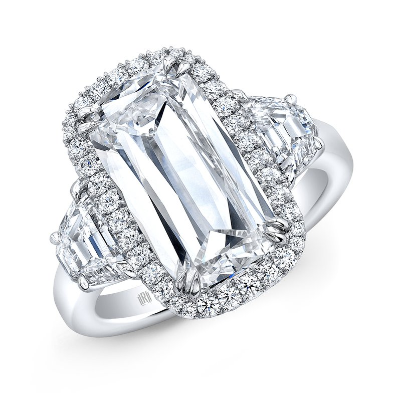 Rahaminov Platinum Cushion Cut Halo Style Engagement Ring